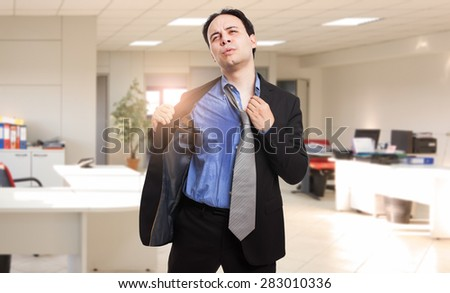 Sweating businessman due to hot climate - stock photo