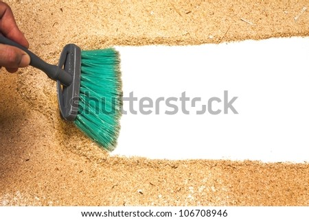 sweep, wood shaving on white background - stock photo