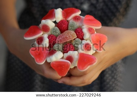 Sweet bouquet with gummi candies/Sweet bouquet - stock photo