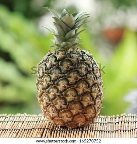 Sweet Fresh Pineapple in the garden background - stock photo
