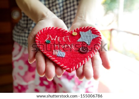 'Sweet Home' velvet sign  - stock photo