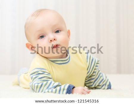 sweet little baby  at home - stock photo