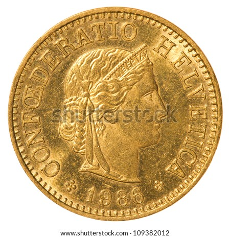 5 Swiss Rappen coin isolated on white background - stock photo