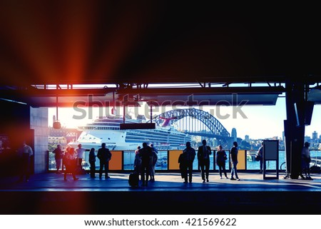 Sydney City subway platform - stock photo