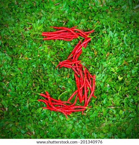 """""""3"""" symbol shaped group of red chili peppers on the green grass - stock photo"""