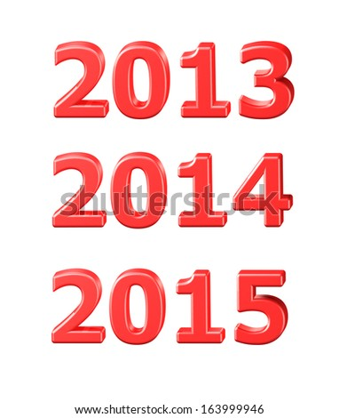 2014, 2013, 2015 symbols in 3D on white background - stock photo