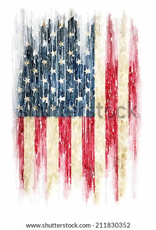 t-shirt graphics / Vintage watercolor of American flag, Photo illustration / men's t-shirt illustration - stock photo