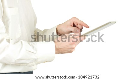tablet computer isolated over white background