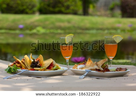 taco shells with beef with fruit juice at the picnic in the grass - stock photo