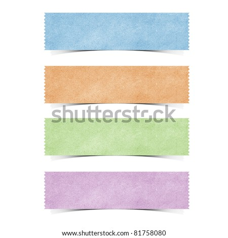 tag recycled paper craft stick on white background