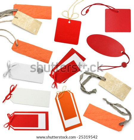 Tags  collection isolated on white background - stock photo