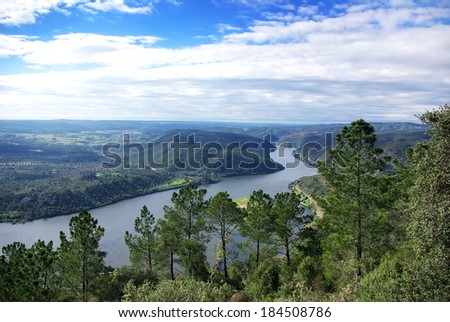 Tagus river, water and trees. Portas de Rodao, Portugal.  - stock photo