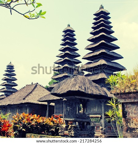 Taman Ayun Temple in Mengwi (Bali, Indonesia). instagram effect, square image  - stock photo