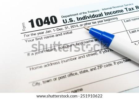 1040 tax form return close up - stock photo