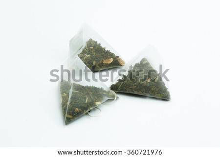 tea bags on a white background  - stock photo