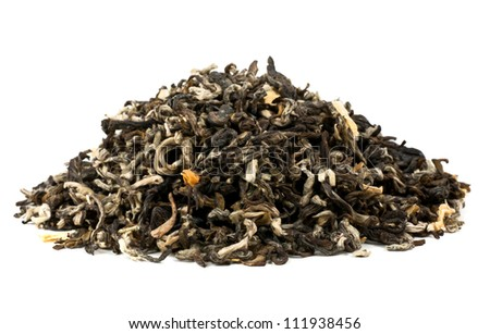 tea loose dried tea leaves, isolated on the white backrgound - stock photo