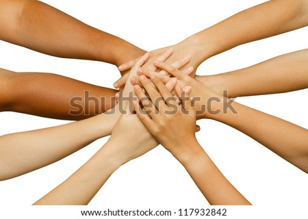 team showing unity, people putting their hands together ,concept successful business people or team work on white background - stock photo