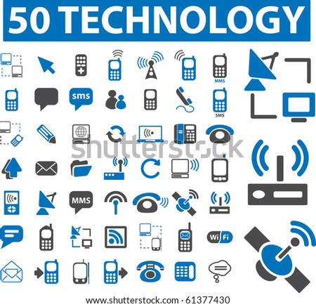 50 technology signs. raster version - stock photo
