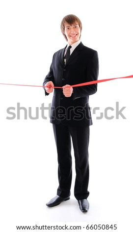 teenage businessman with the red line. Isolated at white background - stock photo