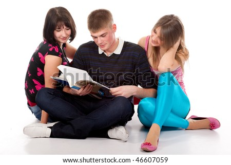 teenage students over a white background - stock photo