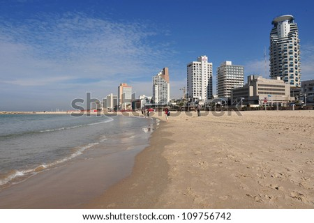 Tel Aviv beach on the coastline of the Mediterranean sea, Israel.