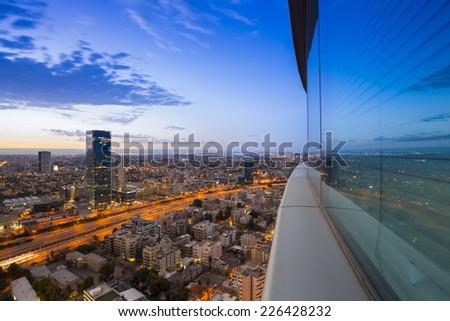 Tel Aviv city - View of Tel Aviv at sunset - stock photo