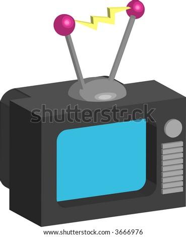 Television. Retro style tv illustration. Raster version - stock photo