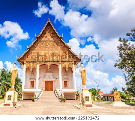 temple in Vientiane, Laos , They are public domain or treasure of Buddhism, no restrict in copy or use  - stock photo