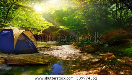 tent in a sunny forest - stock photo