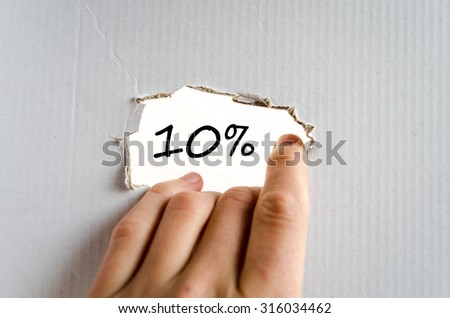 10% text concept isolated over white background - stock photo