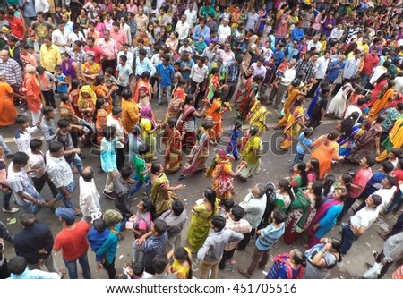 139th Ahmedabad Rath Yatra on July 6, 2016, Ahmedabad, Gujarat state, India. The idols of Lord Jagannath (Krishna), Balarama (Balabhadra) and Subhadra are pulled by the devotees through the city.