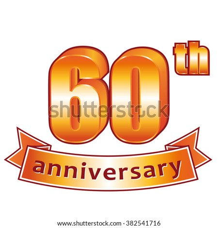 60th anniversary. Golden label. - stock photo