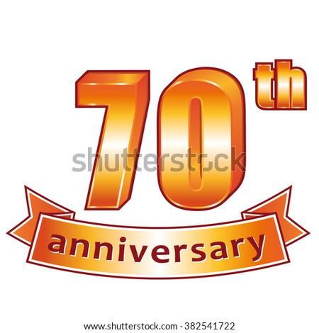 70th anniversary. Golden label. - stock photo