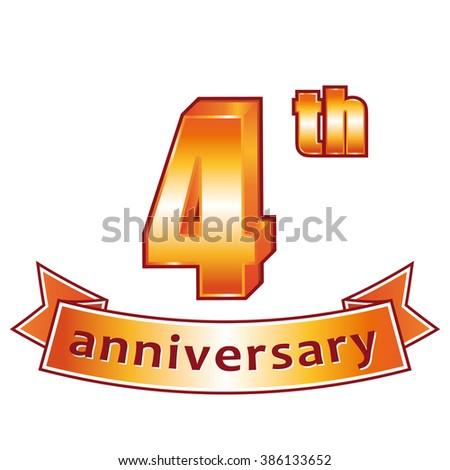 4th anniversary. Golden label.  - stock photo