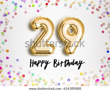 29th Birthday Celebration Gold Balloons Colorful Stock Illustration