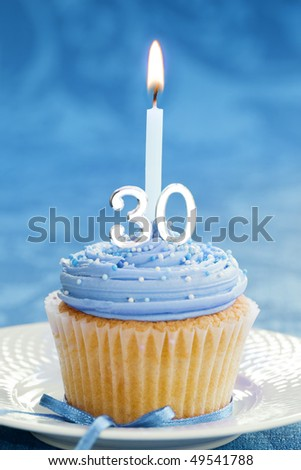 30th birthday cupcake - stock photo