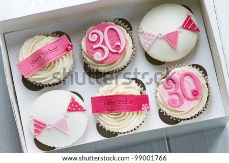 30th birthday cupcake - stock photo