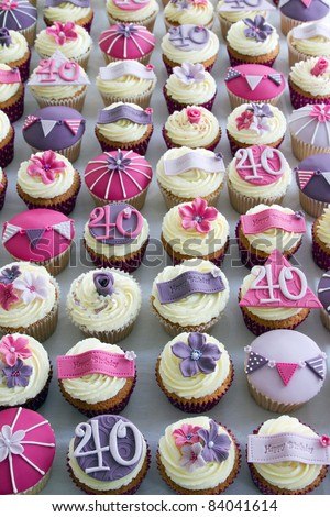 40th birthday cupcakes - stock photo