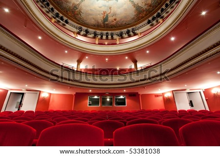 19th  Cahors luxurious classical theater in France with red velvet seats and control room in the depths. - stock photo