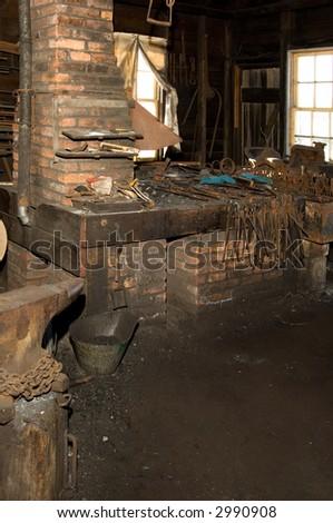 19th Century Blacksmith shop. - stock photo