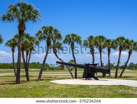 19th Century Canon at Fort De Soto, Florida, United States - stock photo