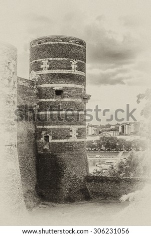 9th century Chateau d'Angers - castle in city of Angers in Loire Valley in France. Castle is located on a rocky ridge overhanging river Maine, founded by Counts of Anjou. Street view. Antique vintage. - stock photo
