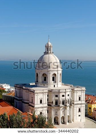 17th-century monument The Church of Santa Engracia overlooking Tagus river in Lisbon, Portugal. In the 20th century the church has been converted into the National Pantheon. - stock photo