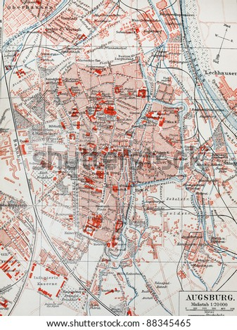 19th century old map of Augsburg. Picture from the original Meyer Lexicon book edition 1908. - stock photo