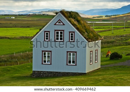 19th century turf houses at Glaumbaer farm in north Iceland. First church at this location was built in 11th century by Eric the Red's grandson Snorri