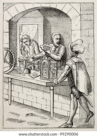 16th century watchmakers old illustration. After Amman, published on Magasin Pittoresque, Paris, 1882. - stock photo