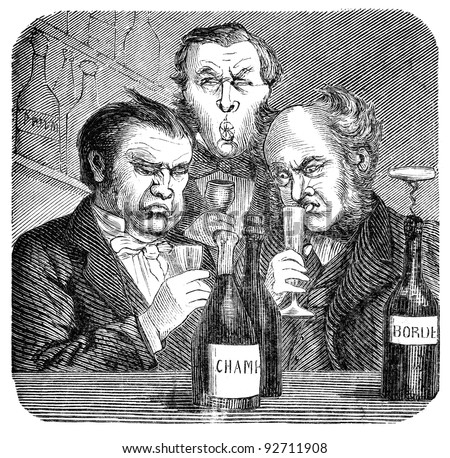 "19th century wine snobs.. Engraving by unknown artist from Swedish magazine ""Ny Illustrerad Tidning"" printed in 1866. - stock photo"
