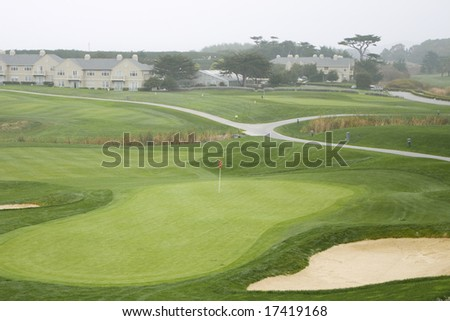 18th Green,  Old Course at the Half Moon Bay Golf Links - stock photo