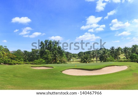 8th hole at Green Valley/St Andrews golf course near Pattaya, Thailand - stock photo
