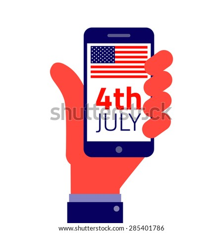 4th july American Independence day. - Smartphone on hand flat icon.